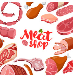 meat frame with logo fresh meat icon vector image vector image