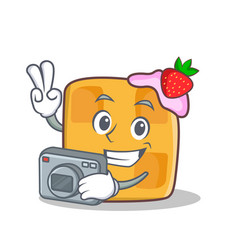 photography waffle character cartoon design vector image vector image