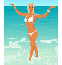pretty blond girl on beach vector image vector image