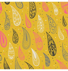 Seamless texture with rain drops on a yellow vector image vector image