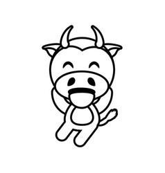 cartoon cow animal outline vector image