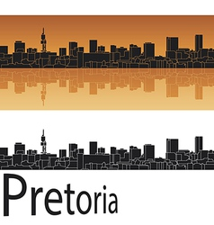 Pretoria skyline in orange background vector image vector image