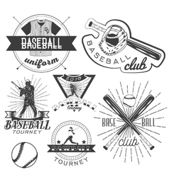 set of baseball labels in vintage style vector image vector image
