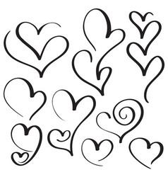 set of calligraphy heart art for design vector image