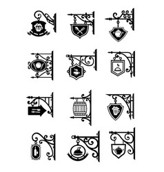 shop signages hanging metal retro icons vector image