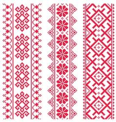 Ukrainian Belarusian red embroidery pattern vector image vector image