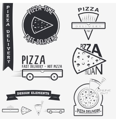 Pizza delivery The food and service Set of vector image vector image