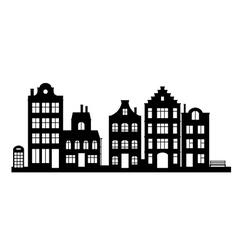 Vintage houses cityscape vector image