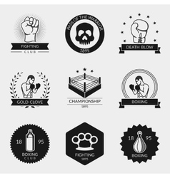 Fighting and boxing black logo set vector image vector image