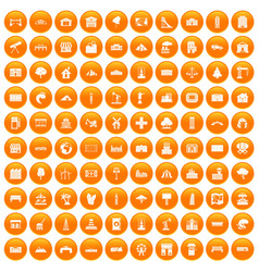 100 landscape element icons set orange vector