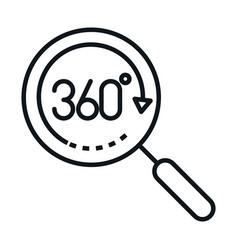 360 degree view virtual tour magnifier linear vector