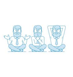 A businessman a teacher a man with a beard and a vector