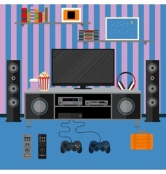 Apartment with a home cinema vector