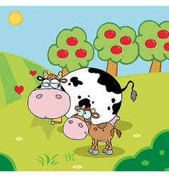 Baby and mommy cow in a pasture vector