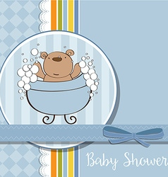baby boy shower card with little teddy bear vector image
