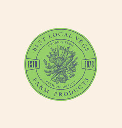 best local vegetables farm retro framed badge vector image