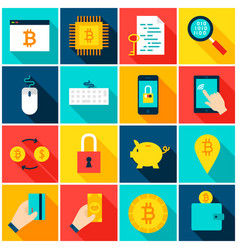 bitcoin cryptocurrency colorful icons vector image