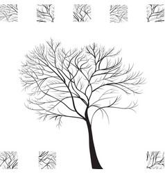 black tree hand drawn silhouette vector image