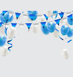 blue balloons confetti and ribbons celebration vector image