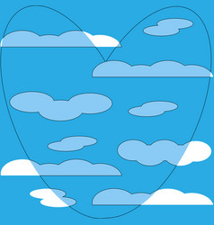 blue heart in white clouds pattern background vector image