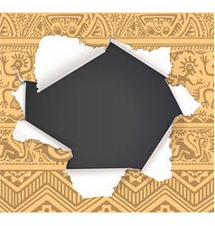 broken hole in paper with african primitive vector image