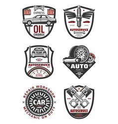Car repair shop and auto service vintage badges vector