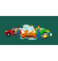 Car wash services auto cleaning with water vector