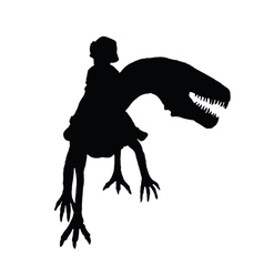 Child with dino silhouette vector