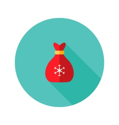 Christmas Bag with Snowflake Flat Icon vector image