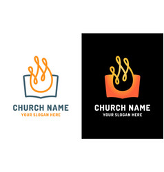 church logo open bible and holy spirit fire vector image