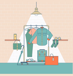 clothes shopping concept in flat thin vector image