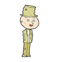 Comic cartoon funny hobo man vector