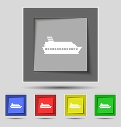 Cruise sea ship icon sign on original five colored vector