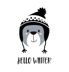 cute cartoon bear boy in winter hat vector image
