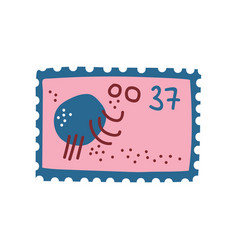 cute vintage postcard with octopus sea creature vector image