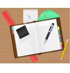 diary and office supplies vector image