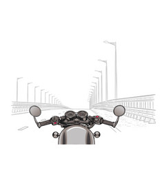 Driving a motorcycle on a highway flat vector