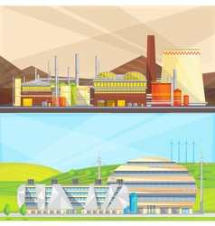 Eco Waste Industry 2 Flat Banners vector