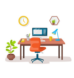 empty modern workplace office interior vector image