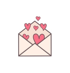 Envelope with hearts inside vector