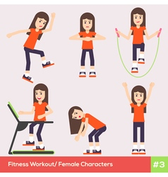 Exercises Carachters Women 3 vector image