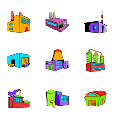 Facility icons set cartoon style vector