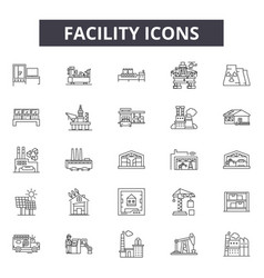 Facility line icons for web and mobile design vector