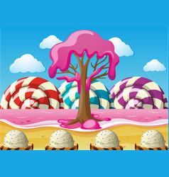 Fantacy scene with lollipops and pink ocean vector