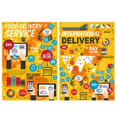 fast food online delivery service infographics vector image