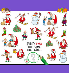Find two the same christmas pictures game vector
