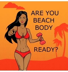 Fitness Girl Beach Body Ready Design vector