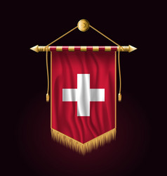 Flag of switzerland festive vertical banner wall vector