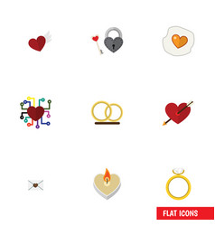 Flat icon heart set of fire wax heart engagement vector