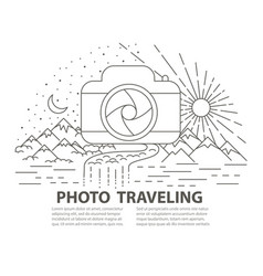 flat line style photo travel banner vector image